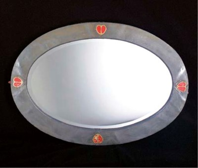 A SCOTTISH PEWTER WALL MIRROR