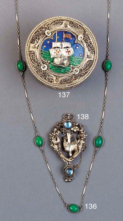 A WHITE METAL AND JADE NECKLAC