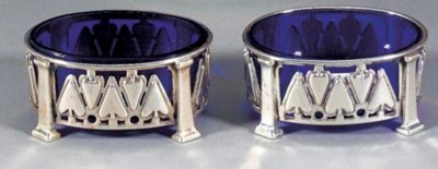 A PAIR OF SILVER SALTS by Rams