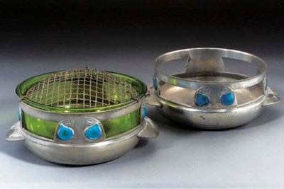 A PEWTER AND ENAMEL ROSE BOWL