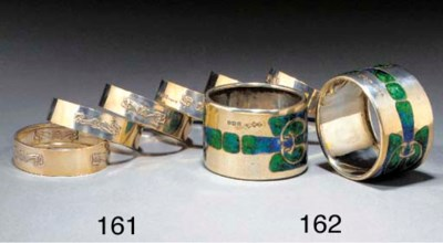 A PAIR OF SILVER AND ENAMEL SE