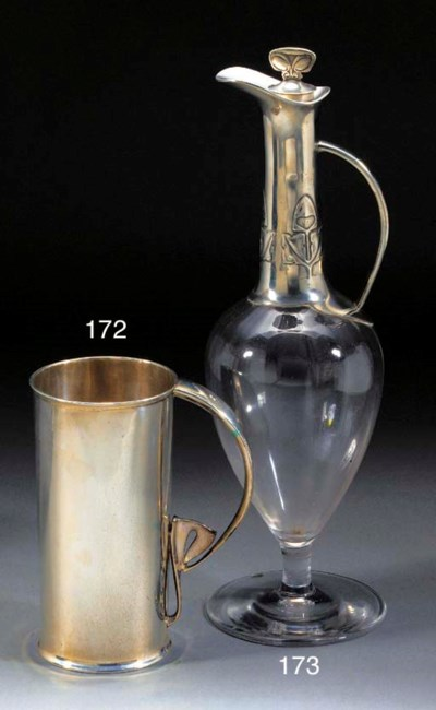 A PEWTER AND GLASS CLARET DECA
