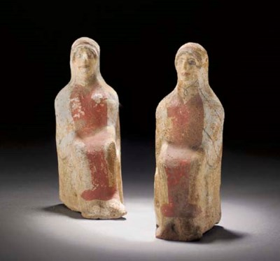 TWO GREEK PAINTED TERRACOTTA S