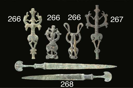 THREE LURISTAN BRONZE FINIALS