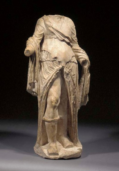A ROMAN MARBLE STATUE OF PRIAP