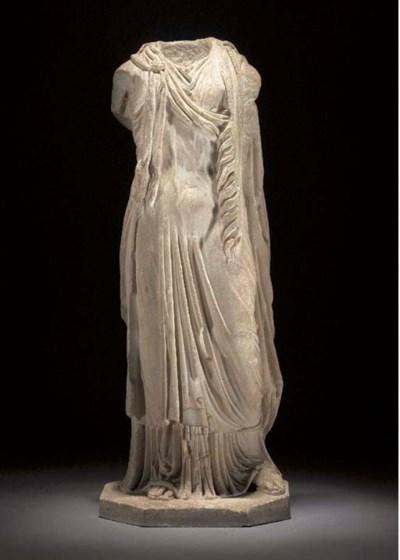A ROMAN MARBLE DRAPED FEMALE S