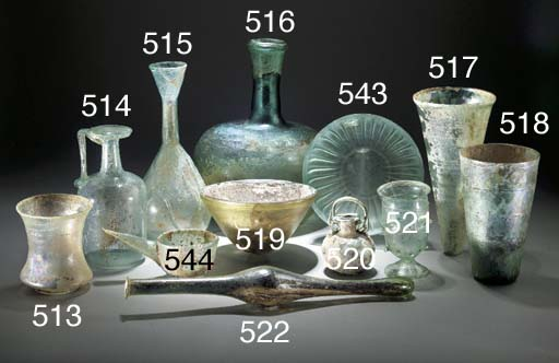 A ROMAN GREEN GLASS ARYBALLOS
