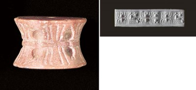 A LARGE SUMERIAN PINK MARBLE C