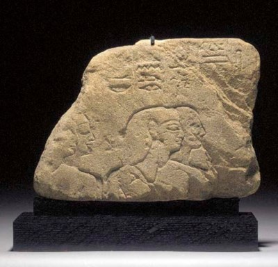 AN EGYPTIAN SANDSTONE RELIEF F