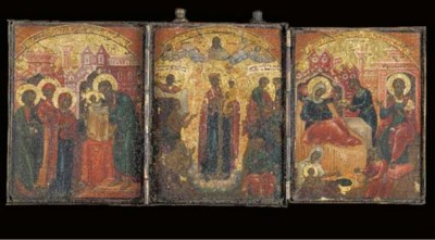 A triptych icon