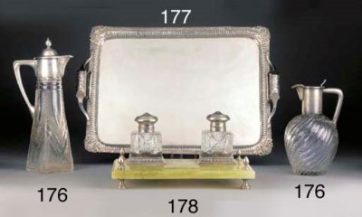 TWO SILVER-MOUNTED CUT-GLASS C
