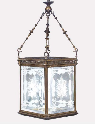 A Victorian lacqered brass and