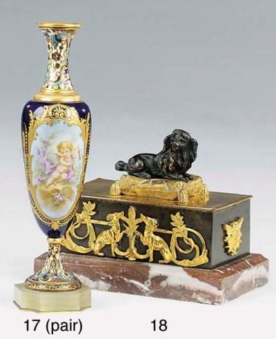 A French gilt bronze encrier,
