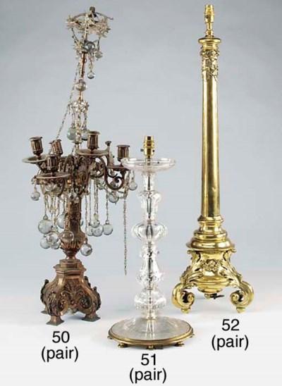 A pair of Continental cut glas