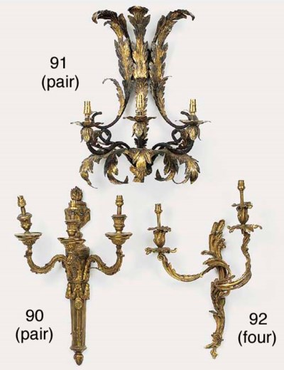 A pair of gilt bronze three li
