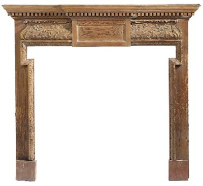 A stained pine fire surround,