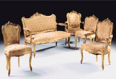 A seven piece giltwood suite,