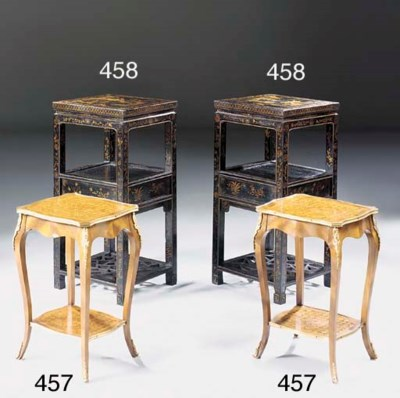 A pair of mahogany, parquetry