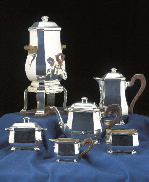 A Five-Piece French Silver Tea