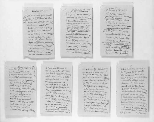 GANDHI, Mohandas K. (1869-1948). Autograph manuscript signed ('MK Gandhi'), n.p., 11 January 1948, a draft of an article, 'Urdu Harijan', with a number of emendations and cancellations, 7 pages, 8vo (numbered in autograph), on versos of paper bearing a typed memorandum addressed to Gandhi on the subject of food distrubition (staple tears to upper left corners).