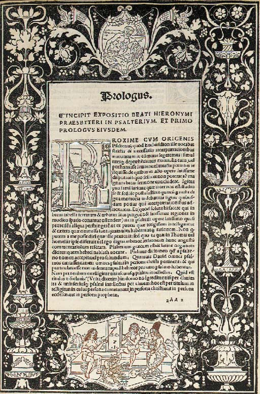HIERONYMUS.  Commentaria in Bibliam, edited by Bernardinus Gadolus, Venice: Joannes and Gregorius de Gregoriis, de Forlivio, 25 August 1498. 2° (331 x 218mm). 340 leaves (of 845, lacks all before quire II and the blank yy8), 60 lines and headline, roman, and a little gothic, letter, fine white-on-black woodcut border on AAa2r with a large historiated initial, repeated several times, 2 woodcut devices, on PPp8r (white-on-black) and QQq6r, large woodcut initials. (Bound in a somewhat haphazard order, repaired tear in CCc5, lower half of QQq6 cut away necessitating repairs in the next 2 leaves, II1 inlaid and lacking one letter of text). Modern 15th-century style blind stamped calf over wooden boards with clasps, original pastedowns from a 10th or 11th-century manuscript Bible on vellum preserved. Provenance: H. Legel (bookplate).