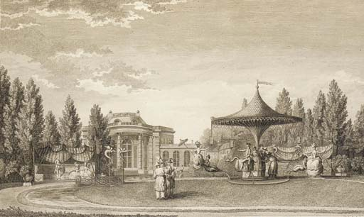 CARMONTELLE, Louis de (1717-1806).  [Jardin de Monceau près de Paris, Paris: L. Jorry, 1779]. 2° (583 x 425mm.). Engraved plan and 17 plates by Louis de Carmontelle. (2 plates with marginal holes, some light mainly marginal spotting and browning). Modern half cloth. One of the plates from this work is illustrated above.