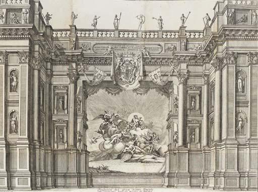 FRUGONI, Carlo Innocenzo.  Le Nozze di Nettuno l' Equestre con Anfitrite.  Introduzione per Musica all Danza da Rapresentarsi a Cavallo da Sedici Cavalieri Convittori del Ducal Collegio de' Nobili nel Grande Teatro di Parma, Parma: Nella Stamperia de S[ua] A[ltezza] Ser[enissi]ma, 1728. 4° (212 x 165mm.). 4 large folding engraved plates at end. (Title and text leaves restored and remargined without loss, title lightly spotted, occasional light spotting, plates lightly browned at folds, one plate shaved, small hole in one margin). Later paper boards with a floral decoration in gilt. (Lightly stained, later endpapers). RARE. Not in Huth.