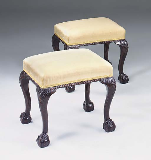 A PAIR OF MAHOGANY STOOLS, LAT