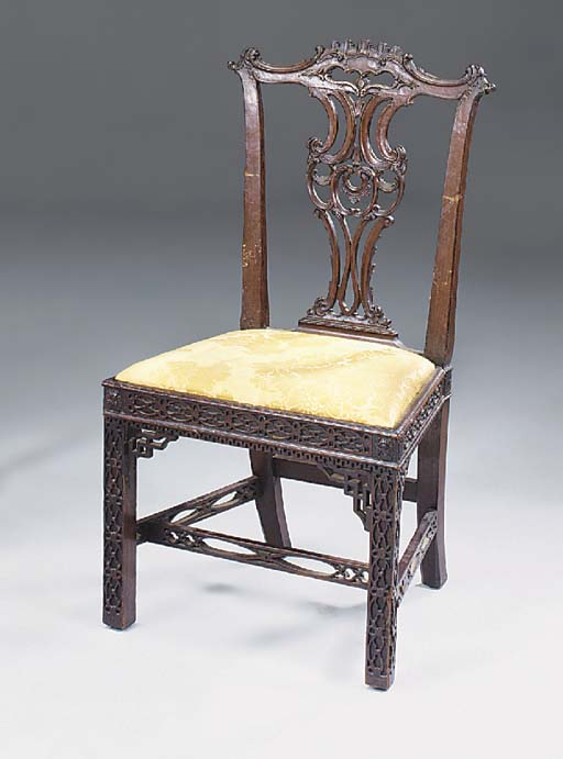 A MAHOGANY DINING CHAIR, ELEME