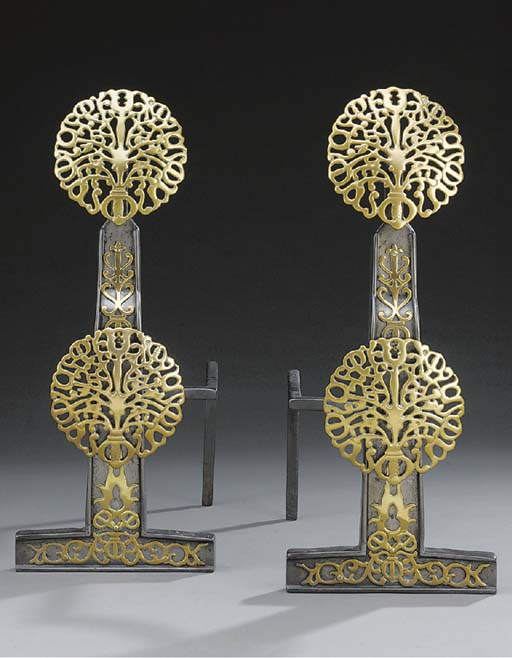 A pair of large brass mounted