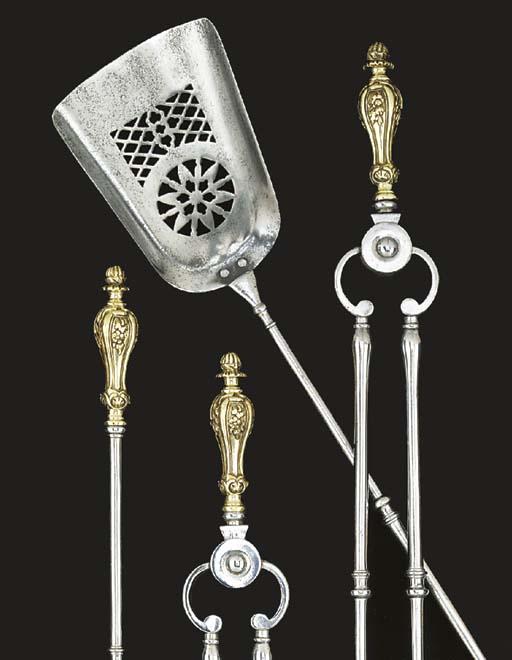 A set of four Victorian brass