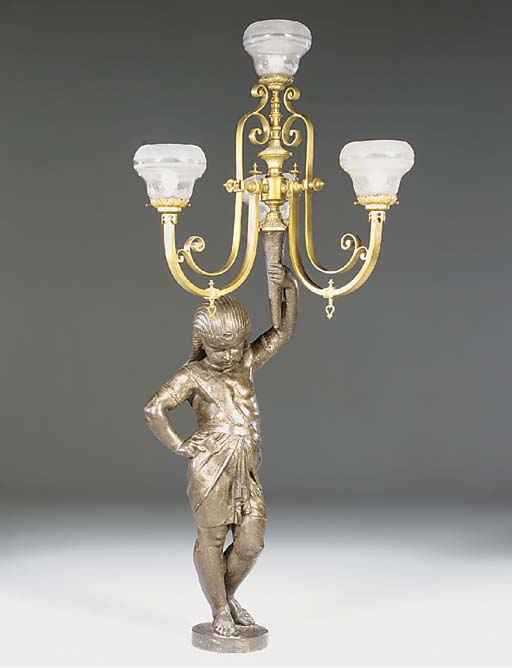 A French cast iron and brass m