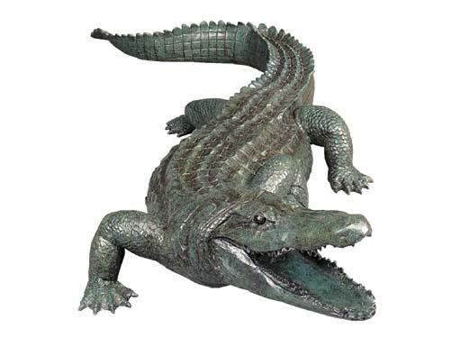 A bronze model of a crocodile,