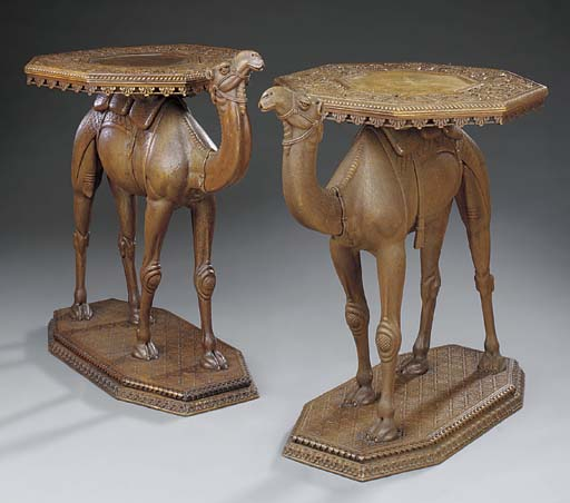 A pair of Anglo Indian carved
