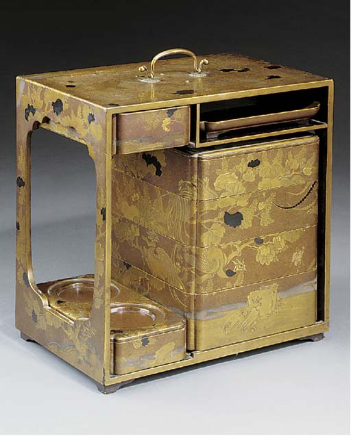 A Japanese gilt lacquered trav