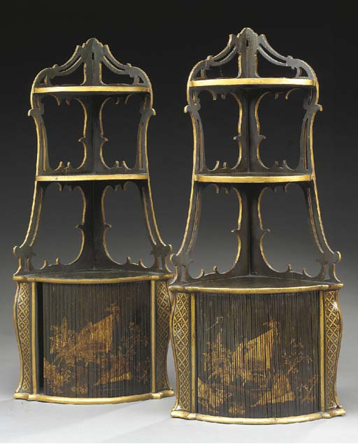 A pair of lacquered and parcel