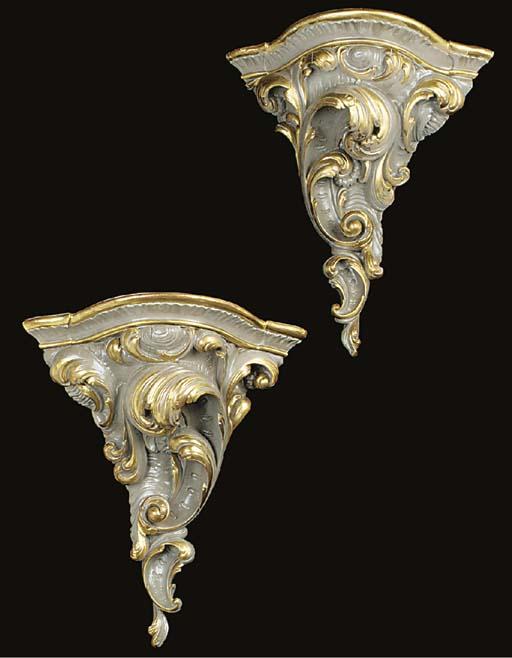 A pair of Italian parcel gilt