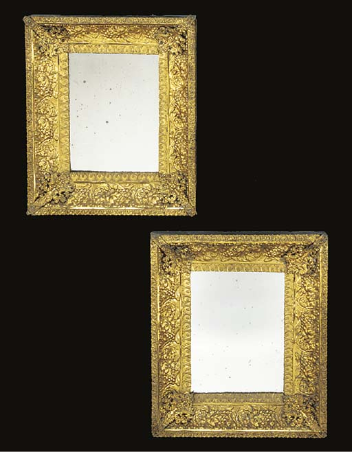 A pair of French gilt brass re