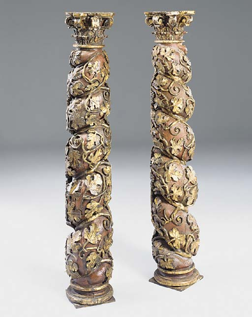A pair of spiral carved, parce