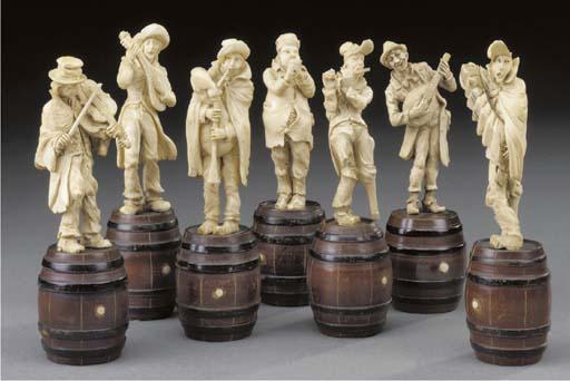 Seven Austrian carved ivory fi