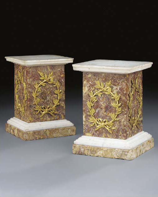 A pair of ormolu mounted marmo
