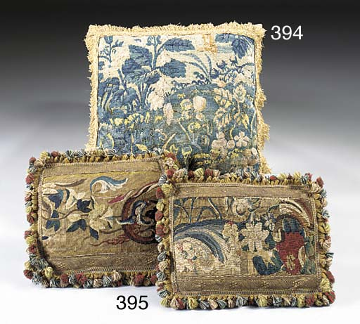 A PAIR OF FLEMISH TAPESTRY CUS