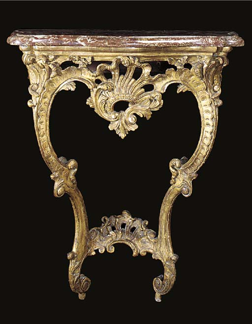 A GILTWOOD MARBLE TOP CONSOLE,