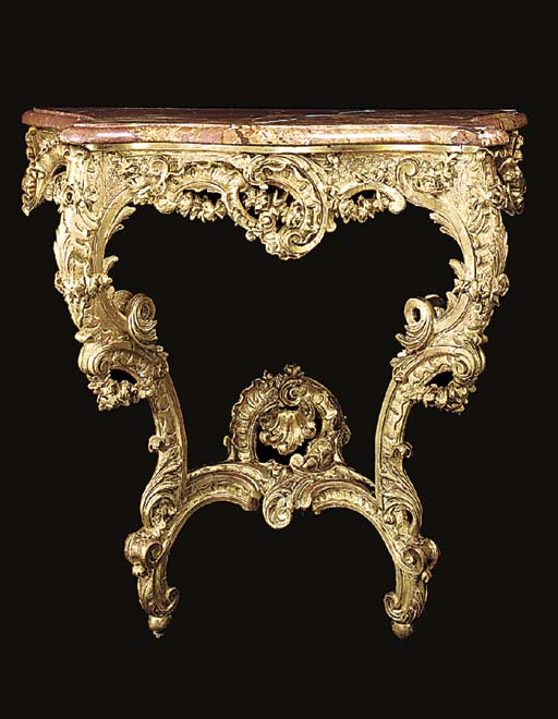 A FRENCH GILTWOOD CONSOLE, 19T