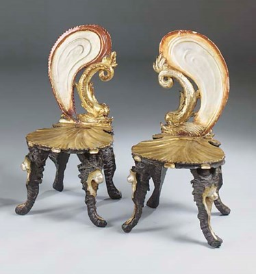 A PAIR OF VENETIAN DECORATED G