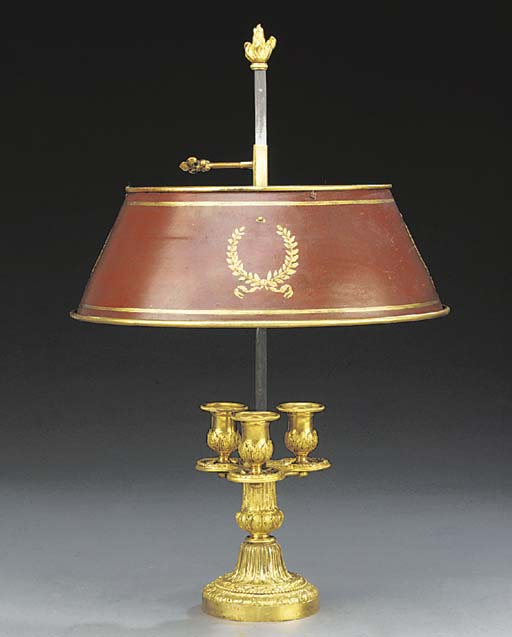 A French gilt bronze three lig