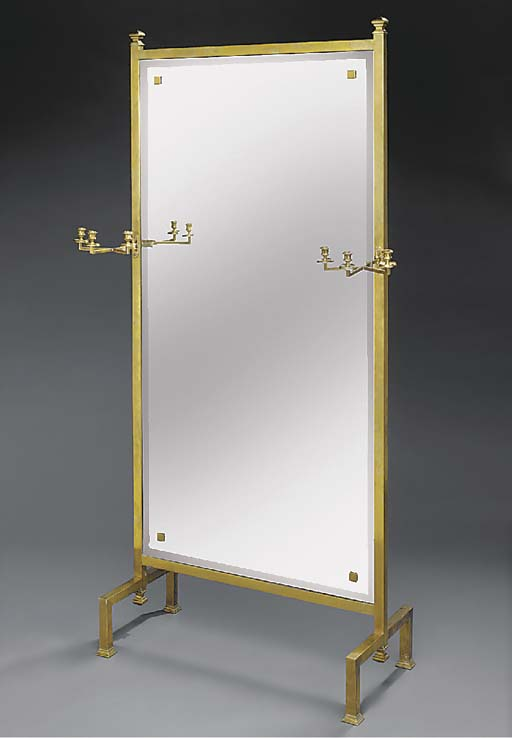 A large polished brass  cheval