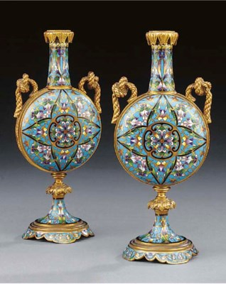 A pair of French gilt bronze m