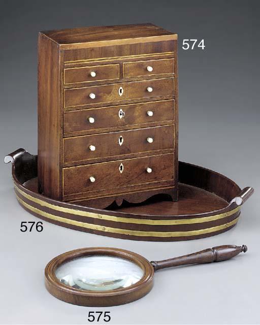 A brass bound mahogany tray, 1