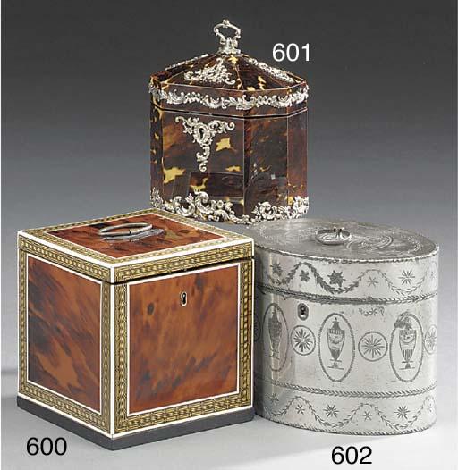 A George III pewter tea caddy